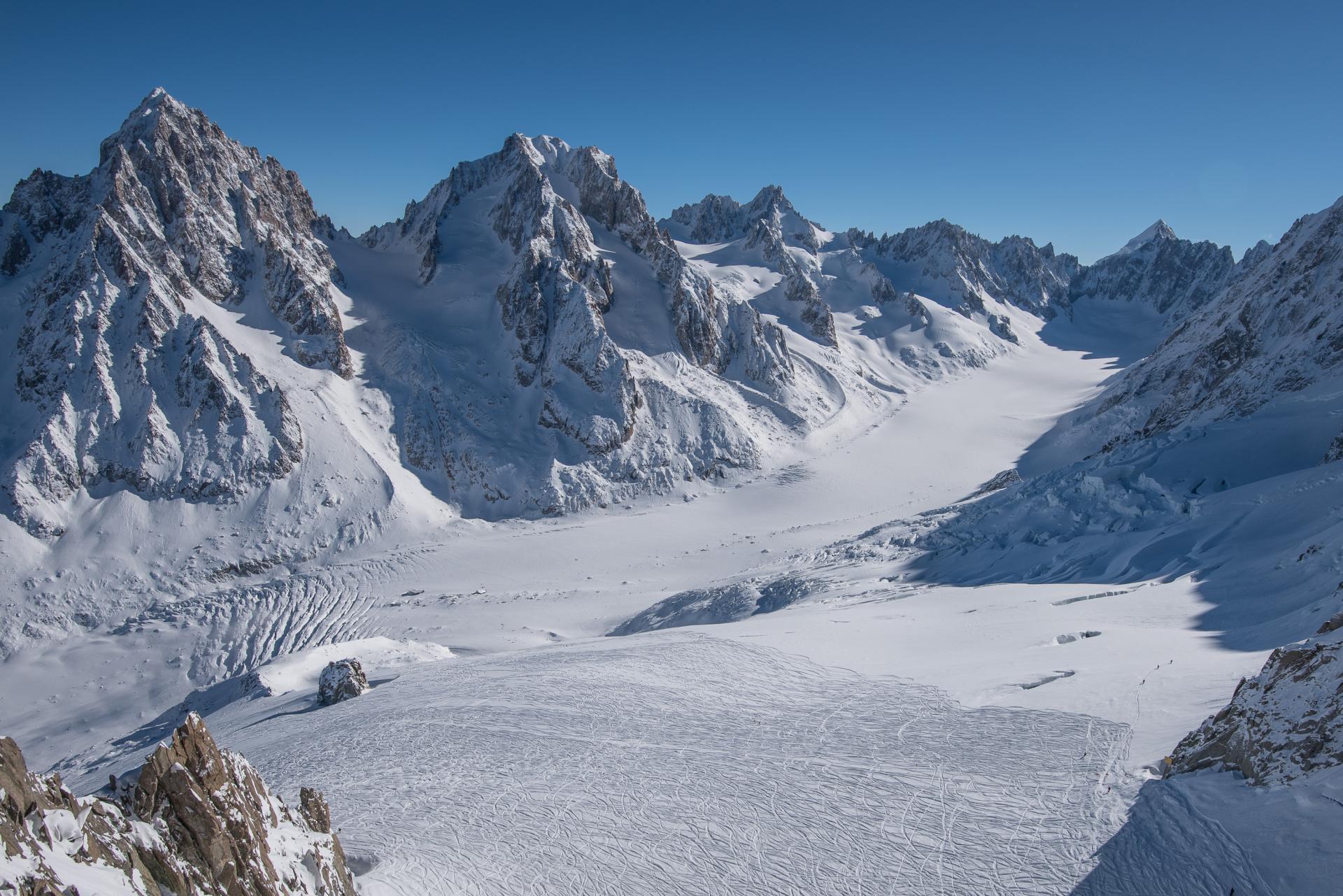La vue sur le glacier d'Argentière